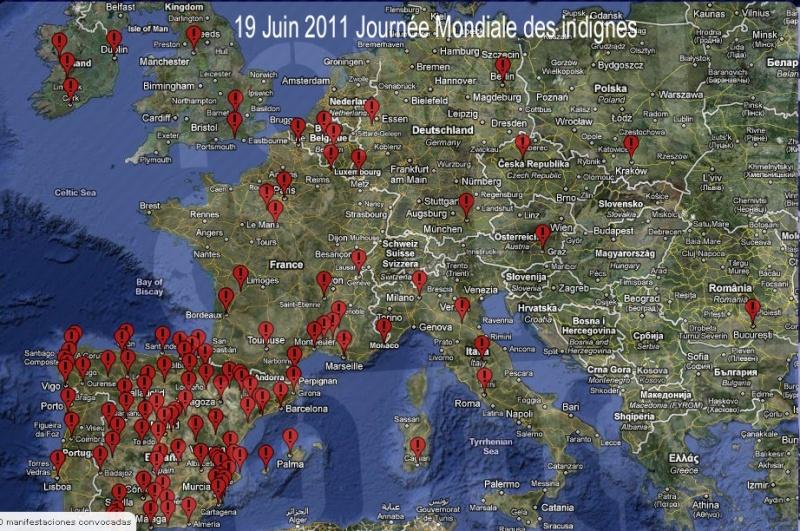 La carte des rassemblements des indignes dans le Monde + lien site 19juin11
