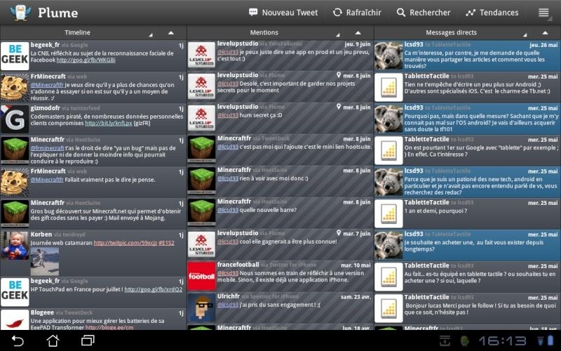 [SOFT] TWEETCOMB: Client twitter spécifique pour Honeycomb [Gratuit] Plume10