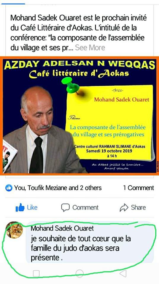 Mohand Sadek Ouaret à Aokas  le samedi 19 Octobre 2019 1145