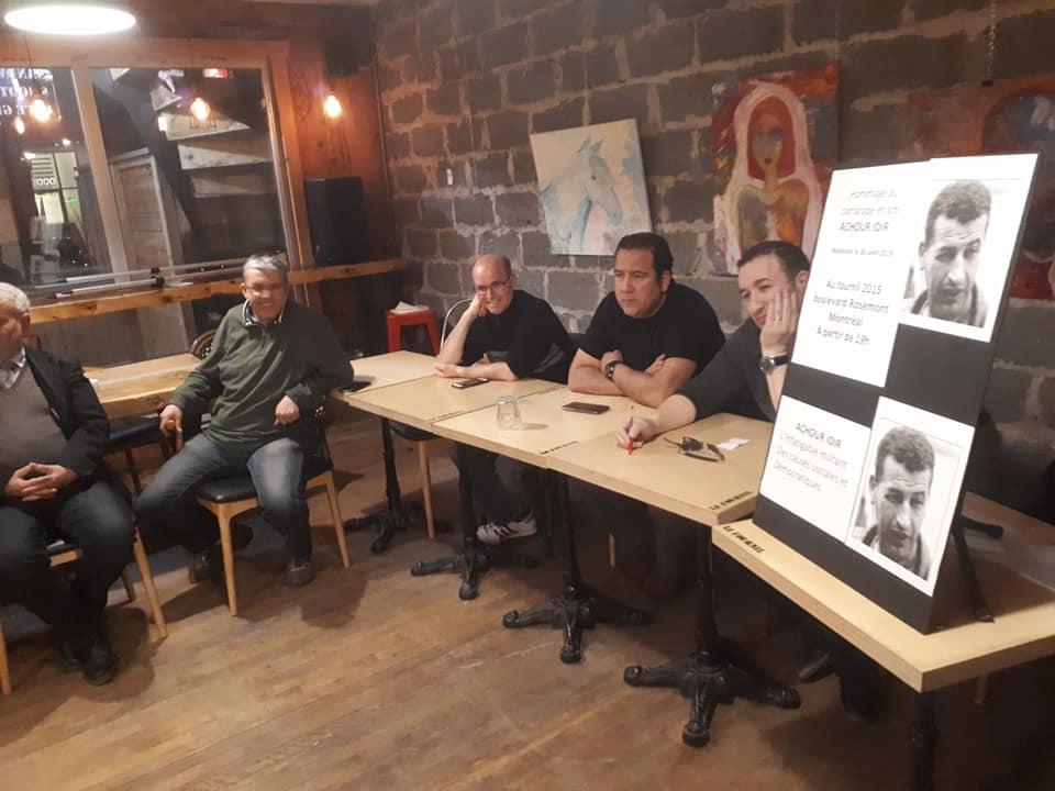 Une soirée hommage et témoignages a été organisée le 6 Avril 2019 à Montréal à la mémoire du militant et syndicaliste Achour Idir 163