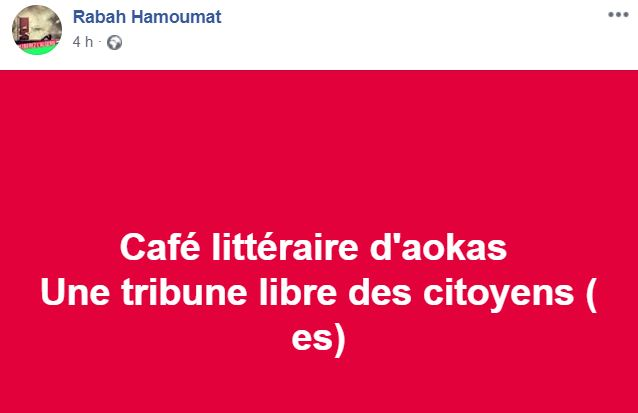 Café littéraire d'Aokas  Une tribune libre des citoyens ( es) 177