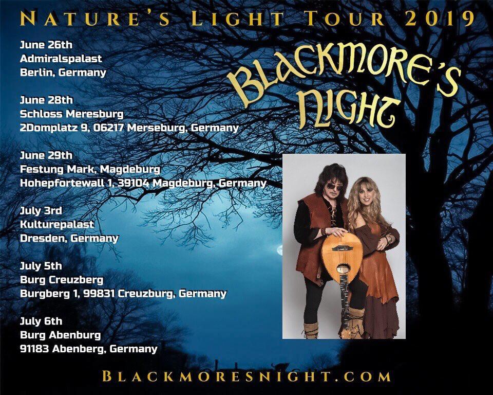 """BLACKMORE'S NIGHT TOUR 2019: """"Nature´s Light Tour 2019"""" Bn_20110"""