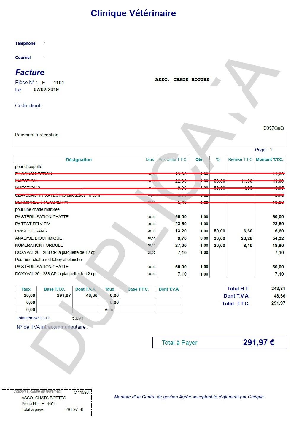 Financement campagne de stérilisations Pléchâtel Factur14