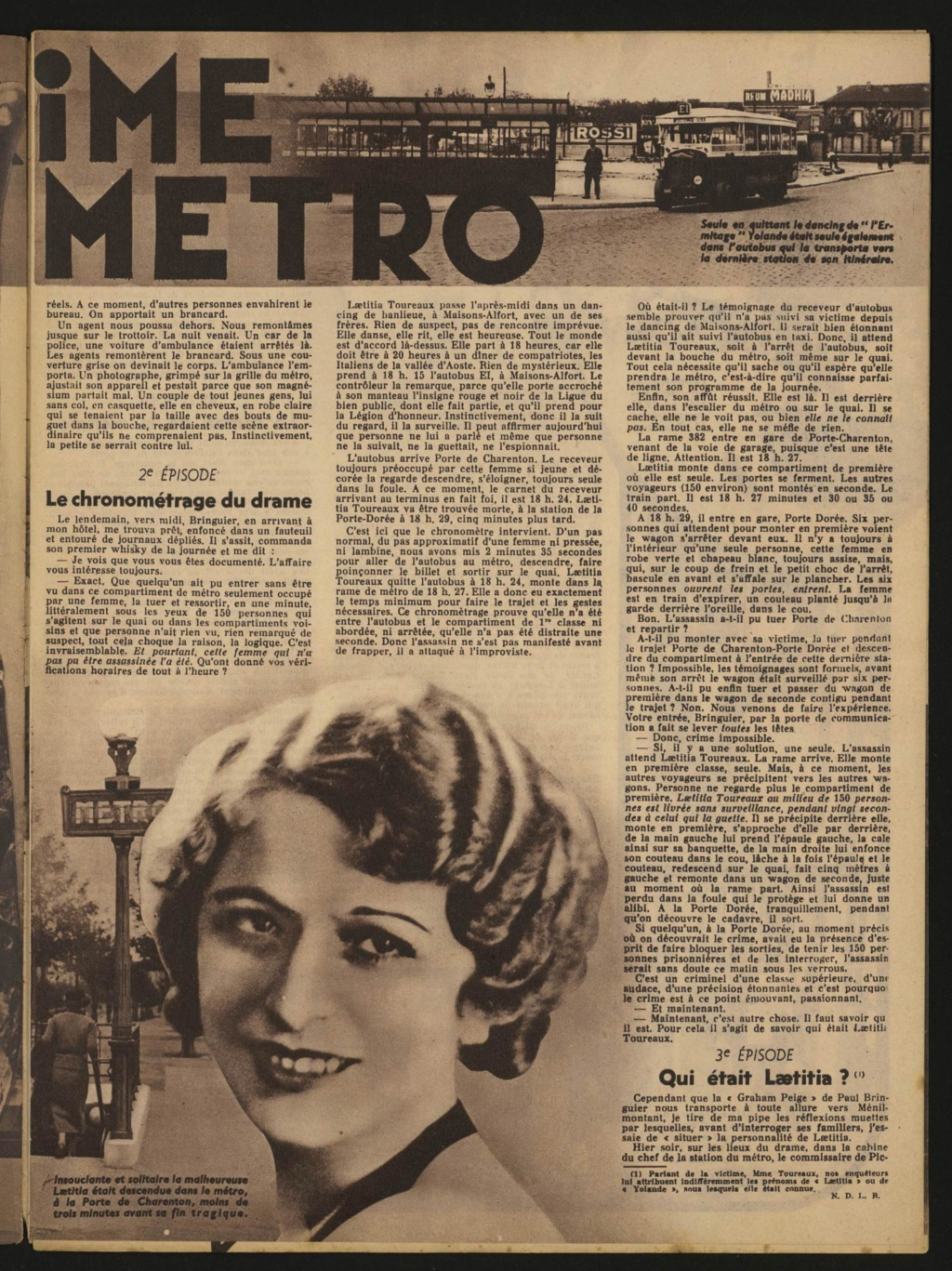 Laëtitia Toureaux - Le Crime du Métro, 16 mai 1937 Tourne10