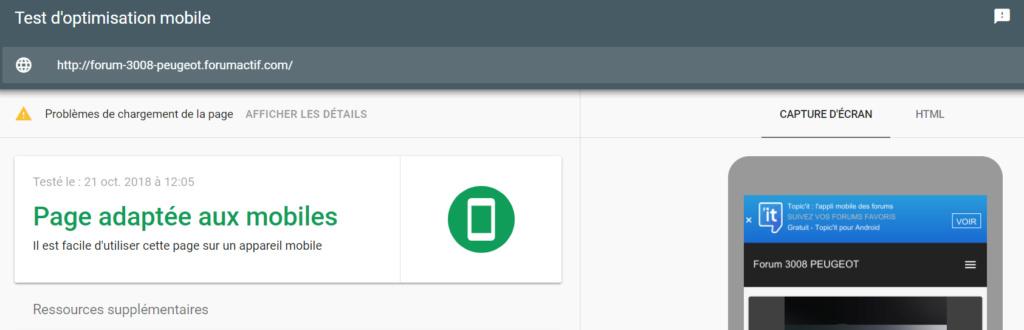 Version mobile avec trois problèmes 500810