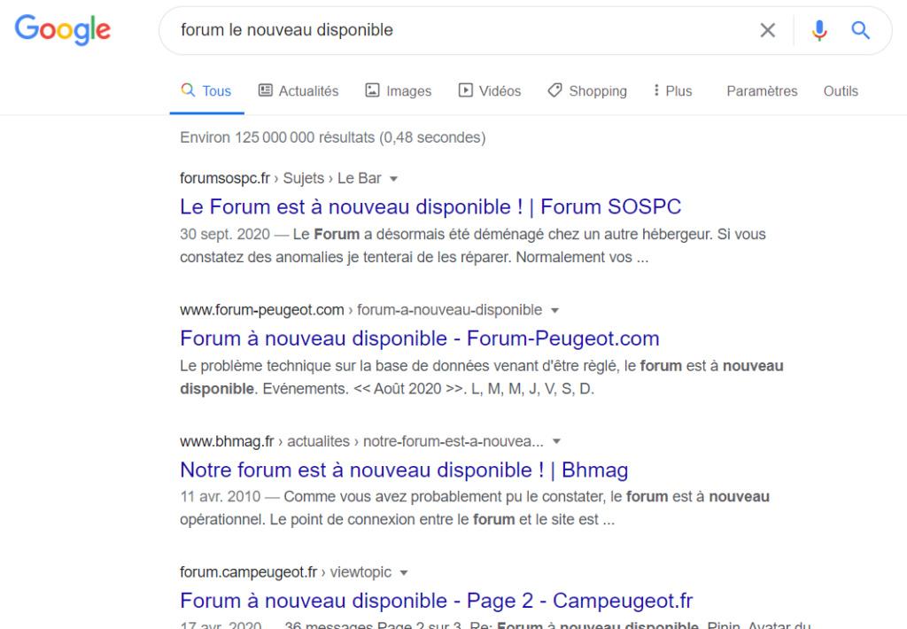 Mon forum pas sur Google Sert10