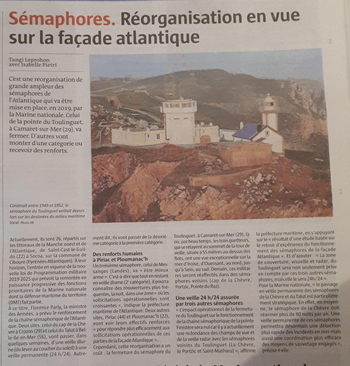 [ Les sémaphores - divers ] Réorganisation pour les Sémaphores de la façade Atlantique 20181127