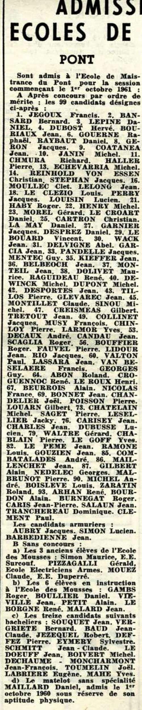 [ École des Mousses ] Promotion 60/61 1ère Compagnie - Page 15 Admiti10