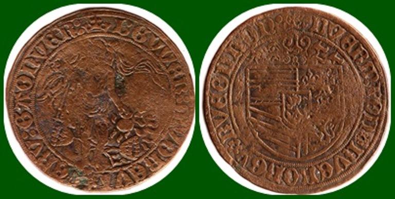 Jeton grande con escudo no identificado, puede ser de Nuremberg. Siglo_10