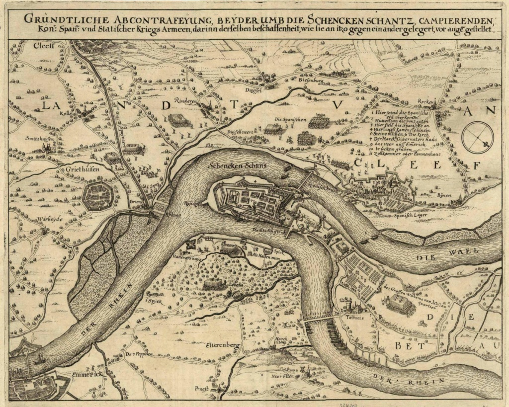 Jetón holandés de 1599. La campaña del Cardenal Andrés de Austria en el Rin Mapa_s10