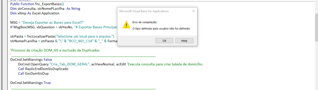 [Resolvido]Erro ao exportar para Excel Erroex10