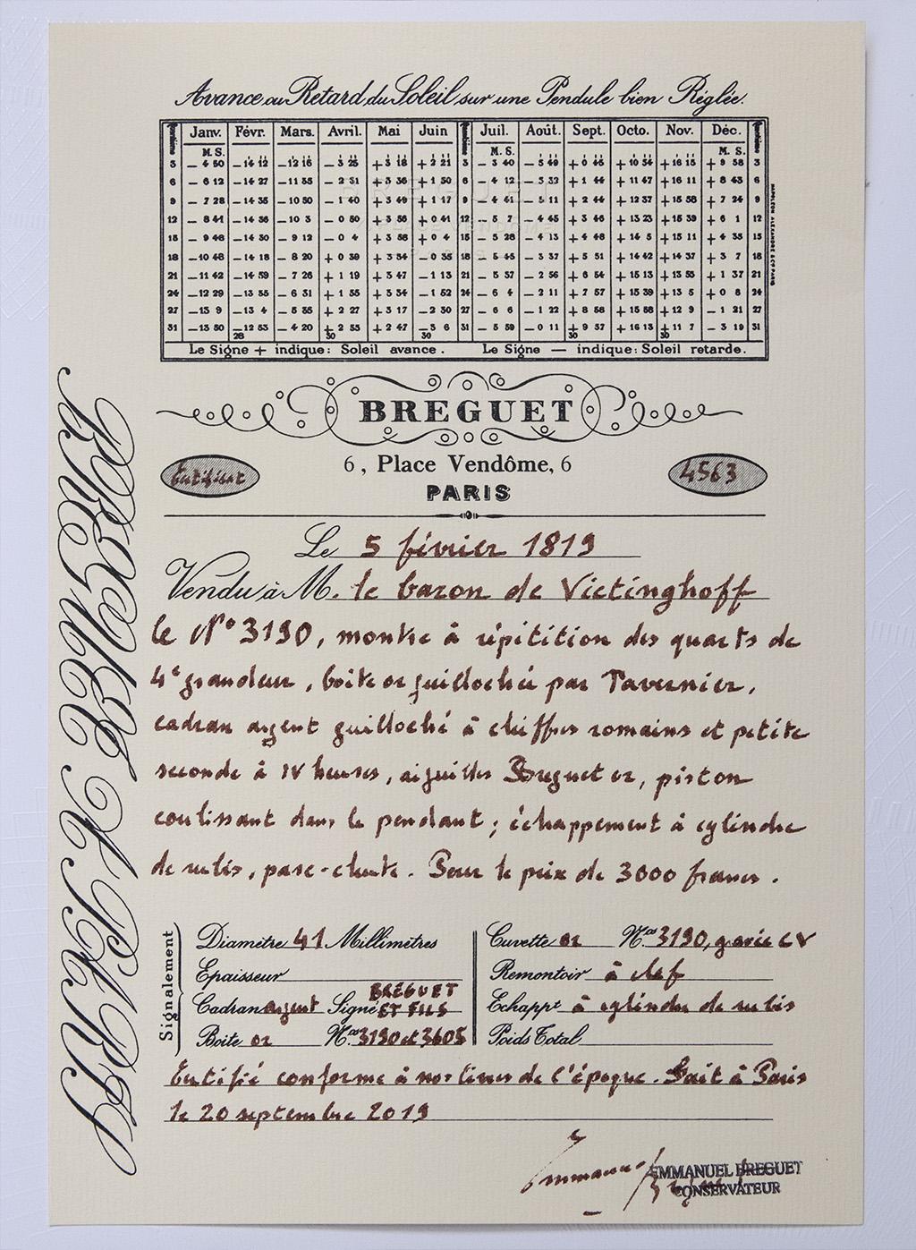 Breguet N°3190, vendue en 1819 au Baron de Vietinghoff Certif10