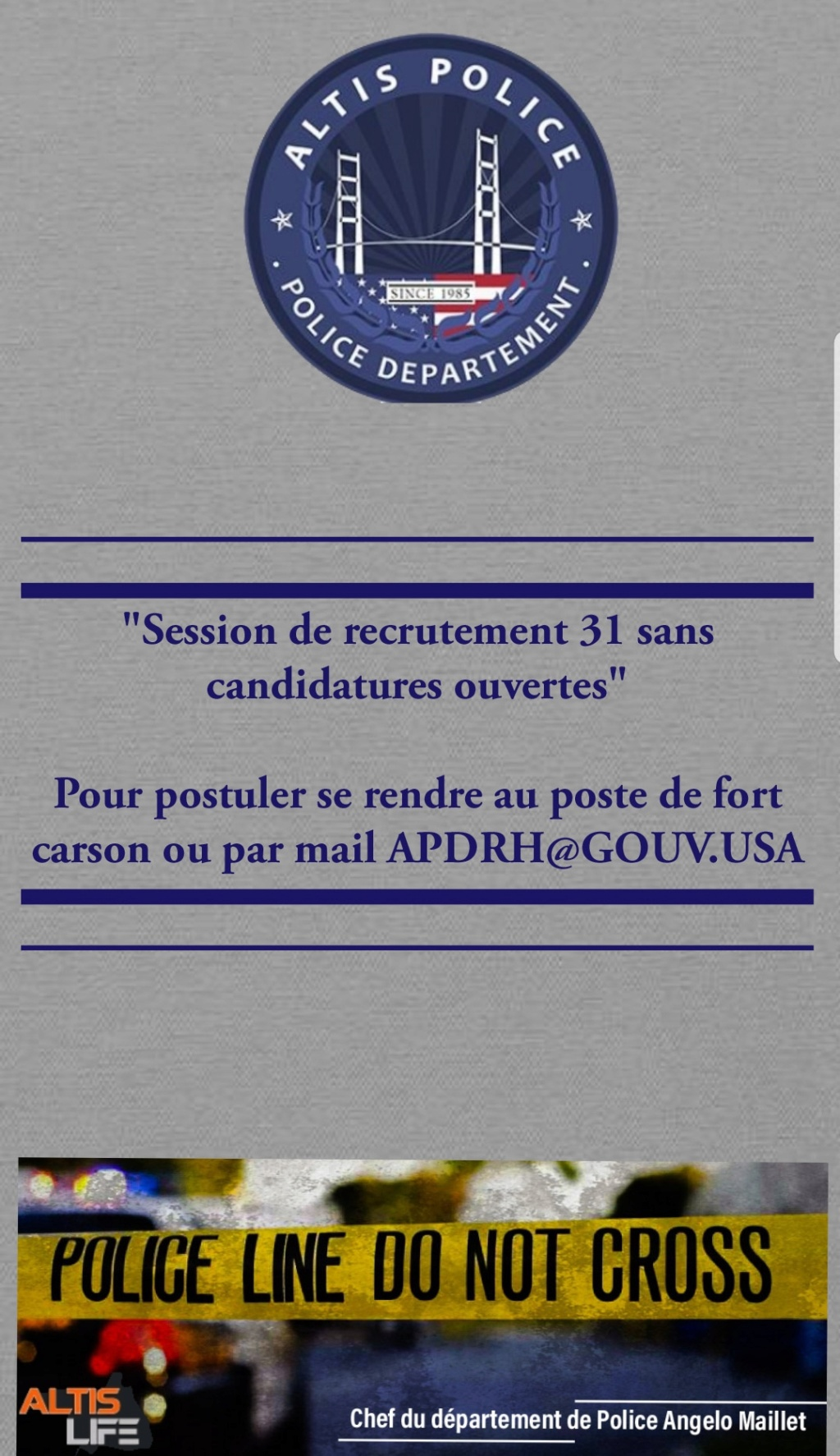 "Session ALTIS POLICE ""31""  [Ouvert sans candidatures]  20190411"
