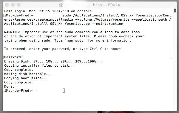 Créer une clé USB bootable Yosemite Instal10