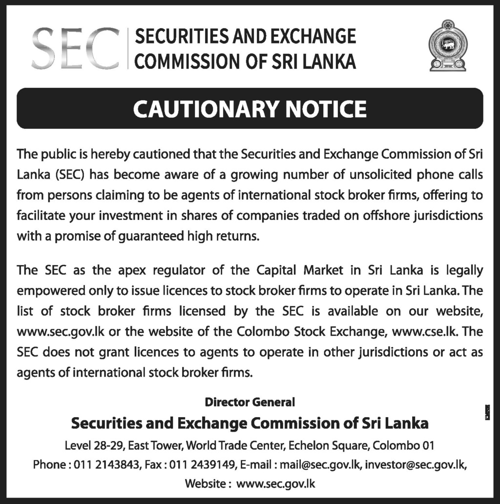 Cautionary Notice issued by the Securities and Exchange Commission of Sri Lanka (SEC) Egbdem10