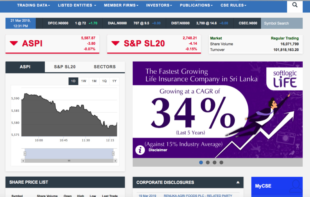 CSE is promoting Life Insurance companies whilst Stock Market is crashing. Screen22
