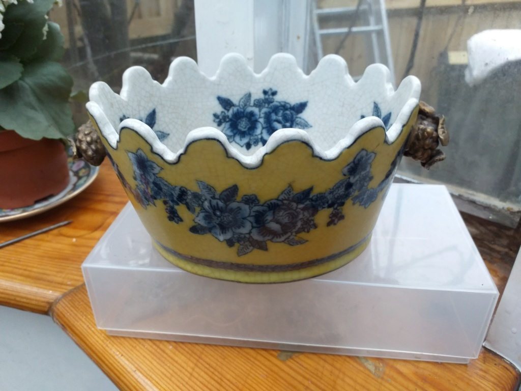 Yellow castellated terrine with blue flower garland, gold fruit 'handles' 20190313