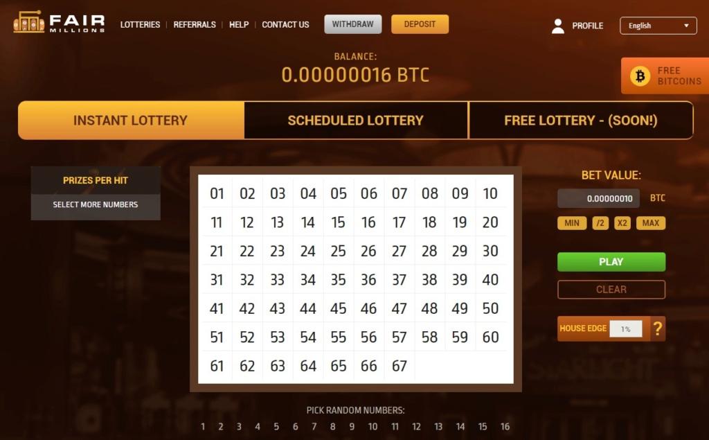 Bitcoin Lottery Fairmillions Fairmi10