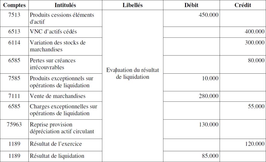 Modèle de bilan de liquidation B310