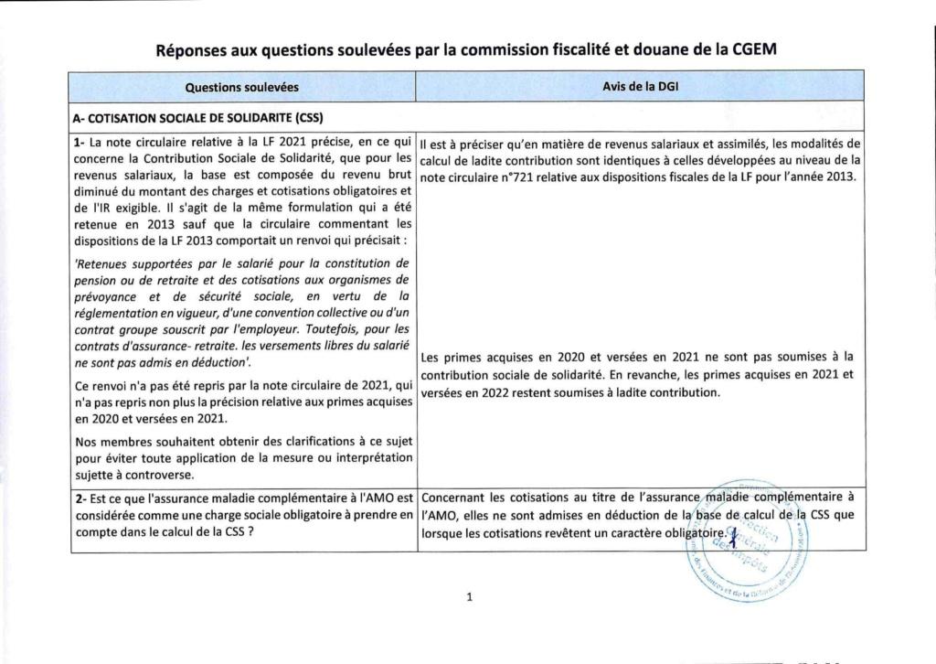 Réponses aux questions soulevées par les membres de la CGEM et la commission fiscalité et douane Rzopon11