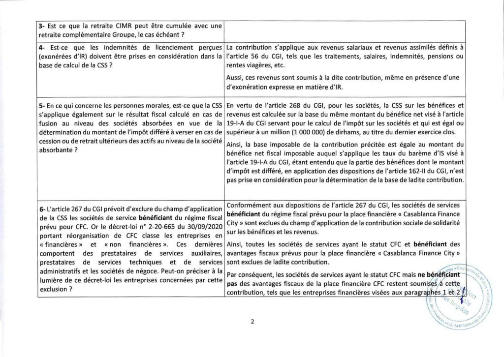 Réponses aux questions soulevées par les membres de la CGEM et la commission fiscalité et douane Rzopon12