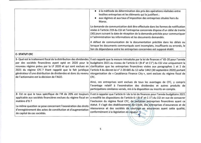 Réponses aux questions soulevées par les membres de la CGEM et la commission fiscalité et douane Rzopon14
