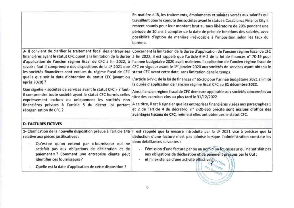 Réponses aux questions soulevées par les membres de la CGEM et la commission fiscalité et douane Rzopon17