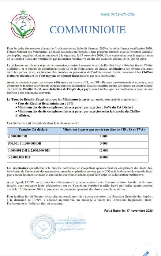 Convention pour la régularisation de la situation fiscale des vétérinaires par déclaration rectificative Vitern10