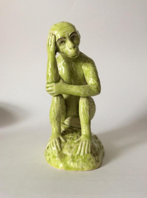 Lime Green Majolica Style Monkey 7225f410
