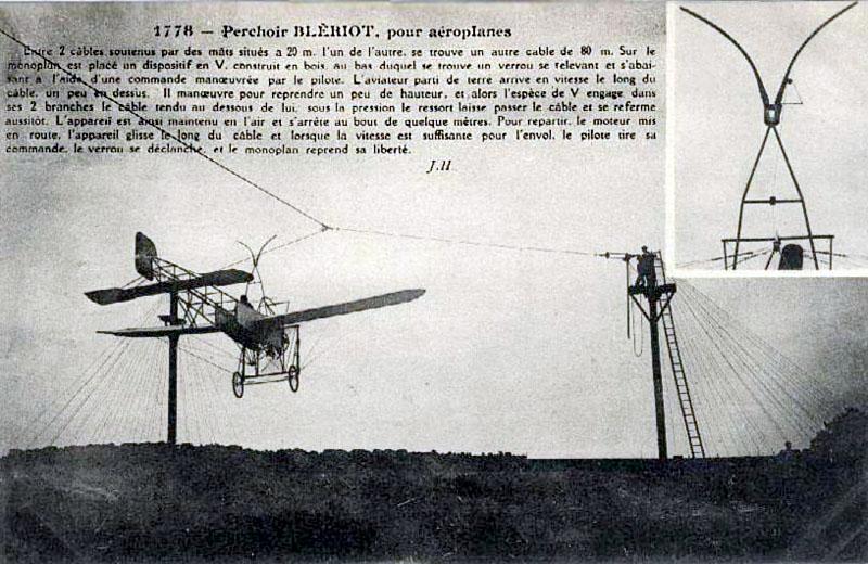 Le Blériot qui décollait et atterrissait d'un câble Blerio12