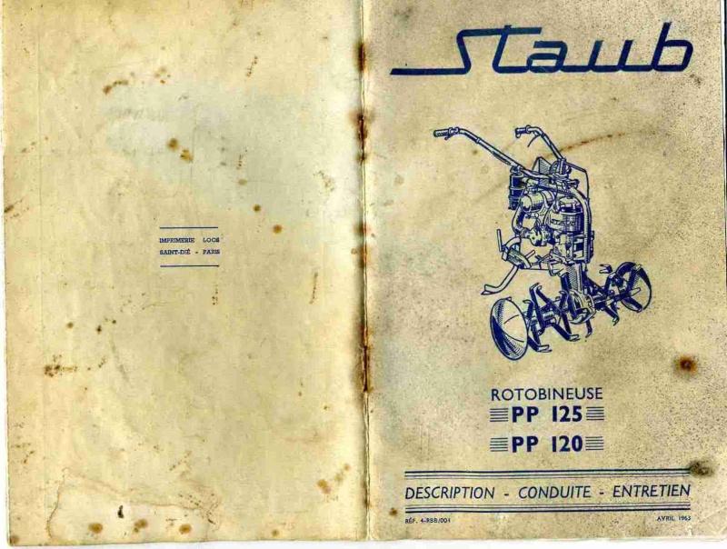 Documentation motoculteur motobineuse STAUB PP120, PP125 et Type WEEK-END. Couver10