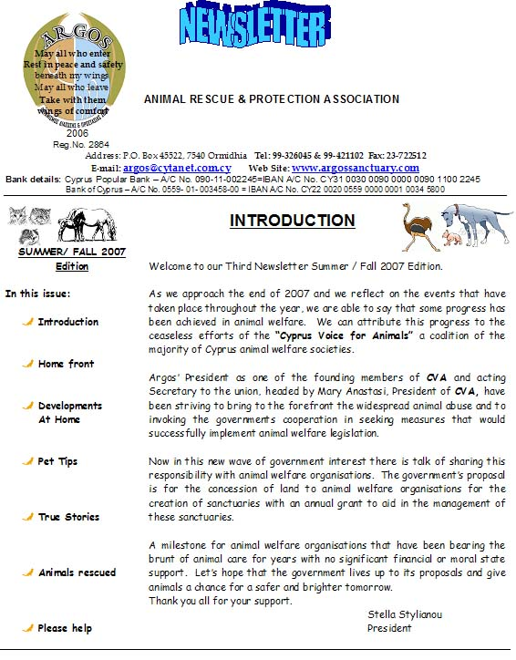 Summer/Winter 2007 Newsletter Newsle10