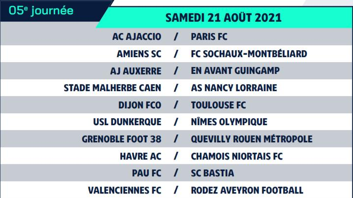 Calendrier de Ligue 2 saison 2021-2022 Calend15