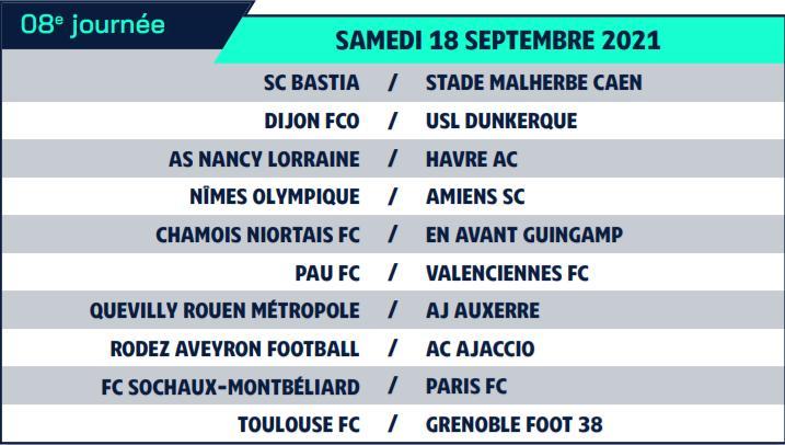 Calendrier de Ligue 2 saison 2021-2022 Calend17
