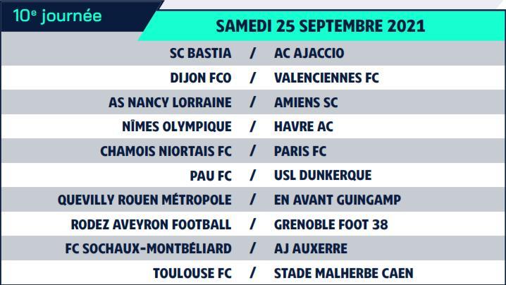 Calendrier de Ligue 2 saison 2021-2022 Calend21