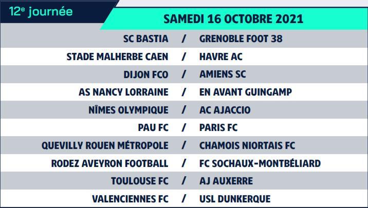 Calendrier de Ligue 2 saison 2021-2022 Calend22
