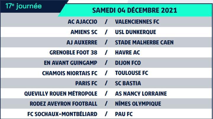 Calendrier de Ligue 2 saison 2021-2022 Calend26