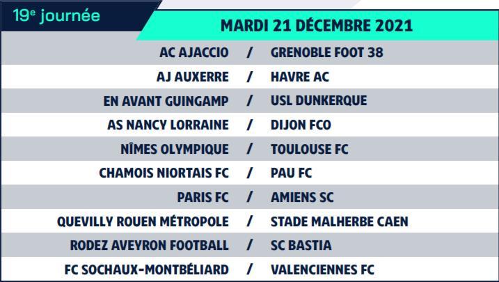 Calendrier de Ligue 2 saison 2021-2022 Calend28