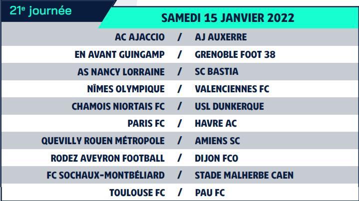 Calendrier de Ligue 2 saison 2021-2022 Calend31