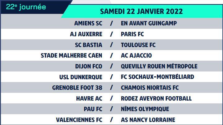 Calendrier de Ligue 2 saison 2021-2022 Calend32