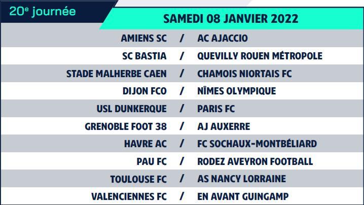 Calendrier de Ligue 2 saison 2021-2022 Calend33
