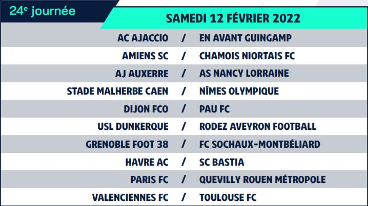 Calendrier de Ligue 2 saison 2021-2022 Calend34