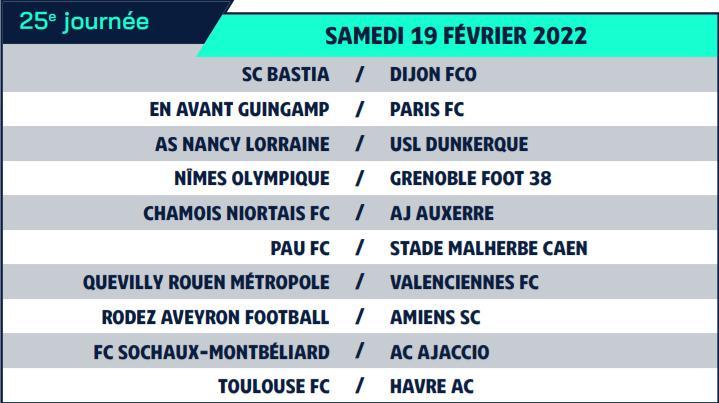 Calendrier de Ligue 2 saison 2021-2022 Calend35