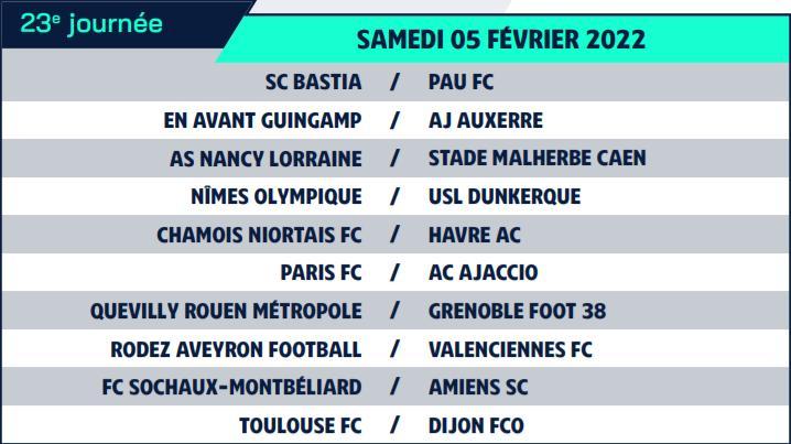 Calendrier de Ligue 2 saison 2021-2022 Calend36
