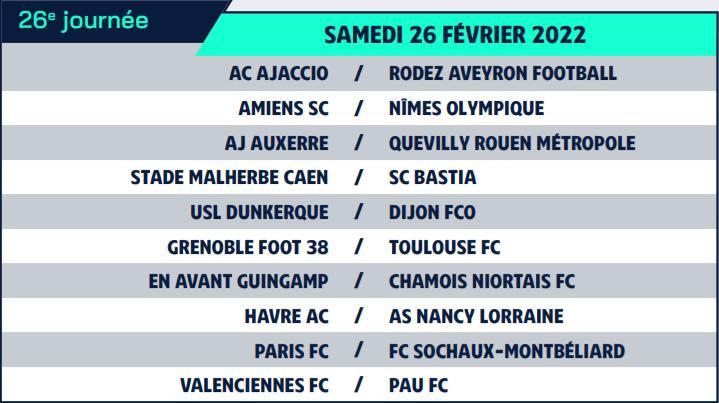 Calendrier de Ligue 2 saison 2021-2022 Calend37