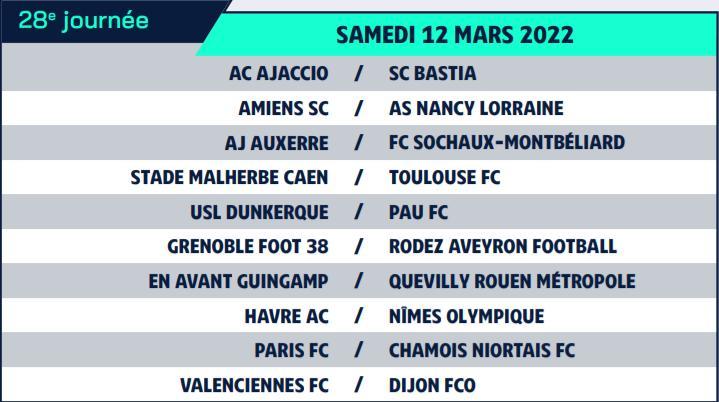 Calendrier de Ligue 2 saison 2021-2022 Calend38