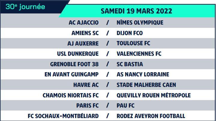 Calendrier de Ligue 2 saison 2021-2022 Calend40