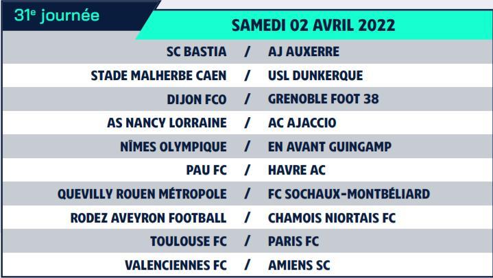 Calendrier de Ligue 2 saison 2021-2022 Calend41