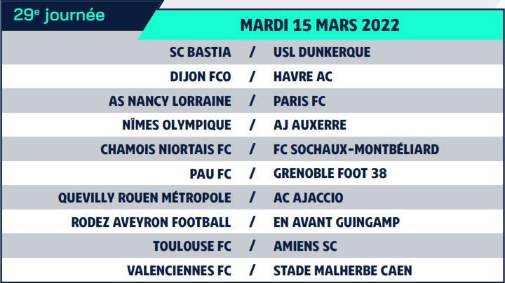 Calendrier de Ligue 2 saison 2021-2022 Calend42