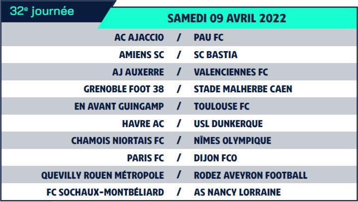 Calendrier de Ligue 2 saison 2021-2022 Calend43